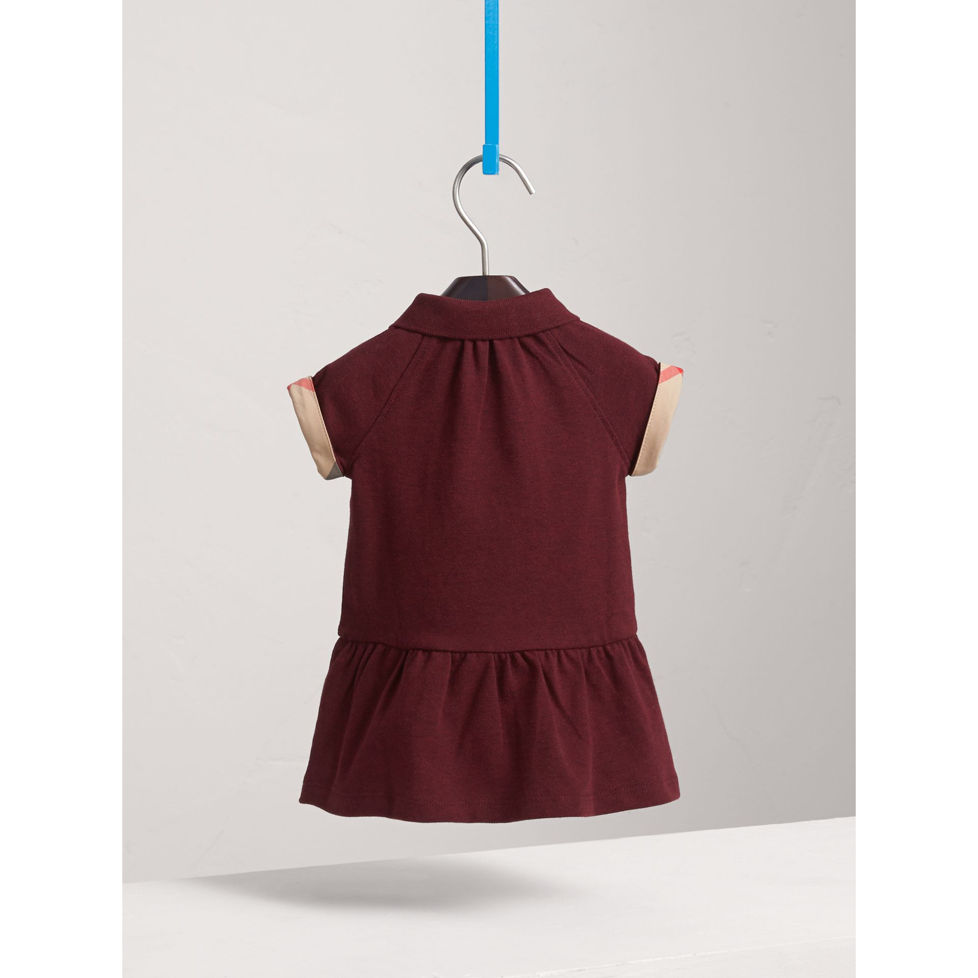 Check Detail Cotton Piqué Shirt Dress in Burgundy Melange | Burberry - gallery image 4