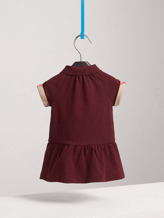 Check Detail Cotton Piqué Shirt Dress in Burgundy Melange | Burberry - cell image 3