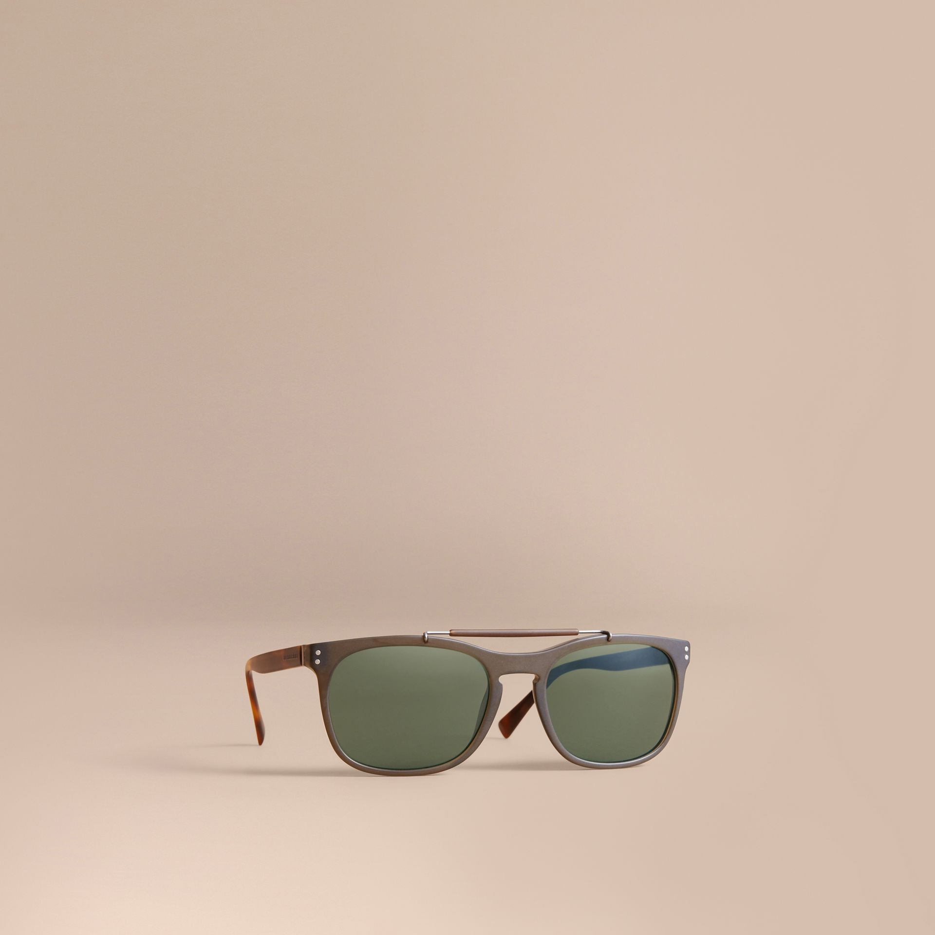 Top Bar Square Frame Sunglasses in Olive - Men | Burberry United States - gallery image 0