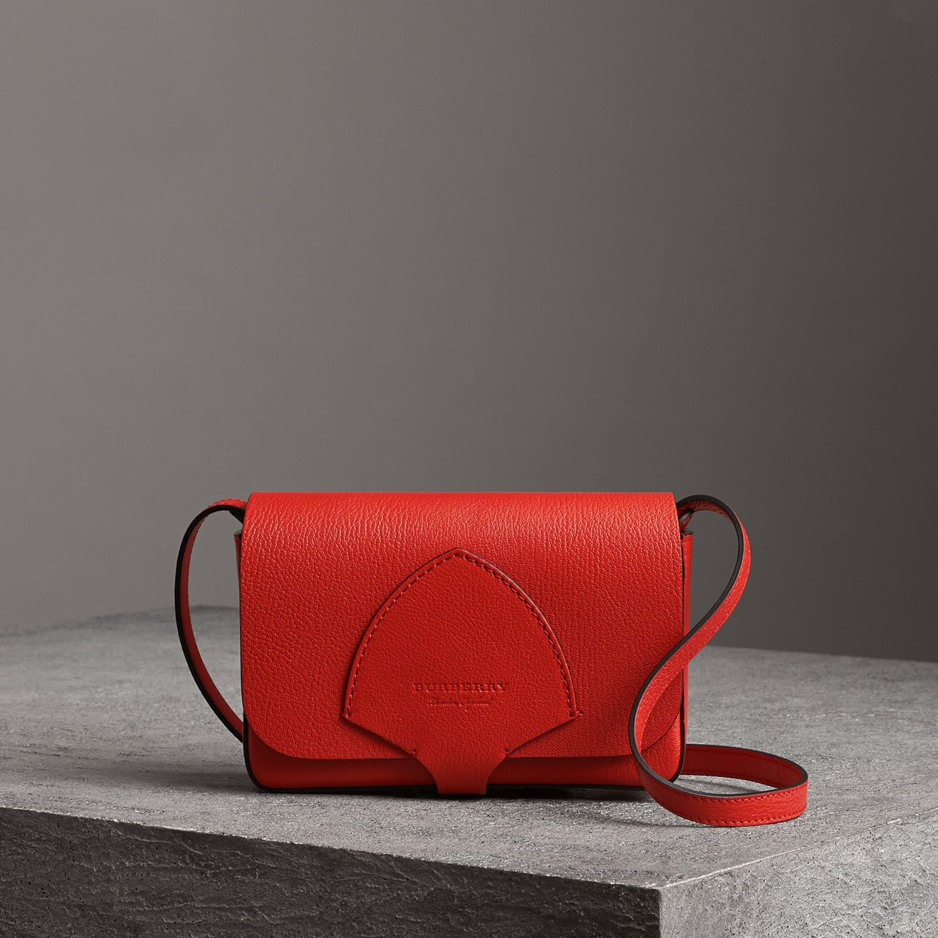 Equestrian Shield Leather Wallet with Detachable Strap in Bright Red - Women | Burberry United Kingdom - gallery image 0