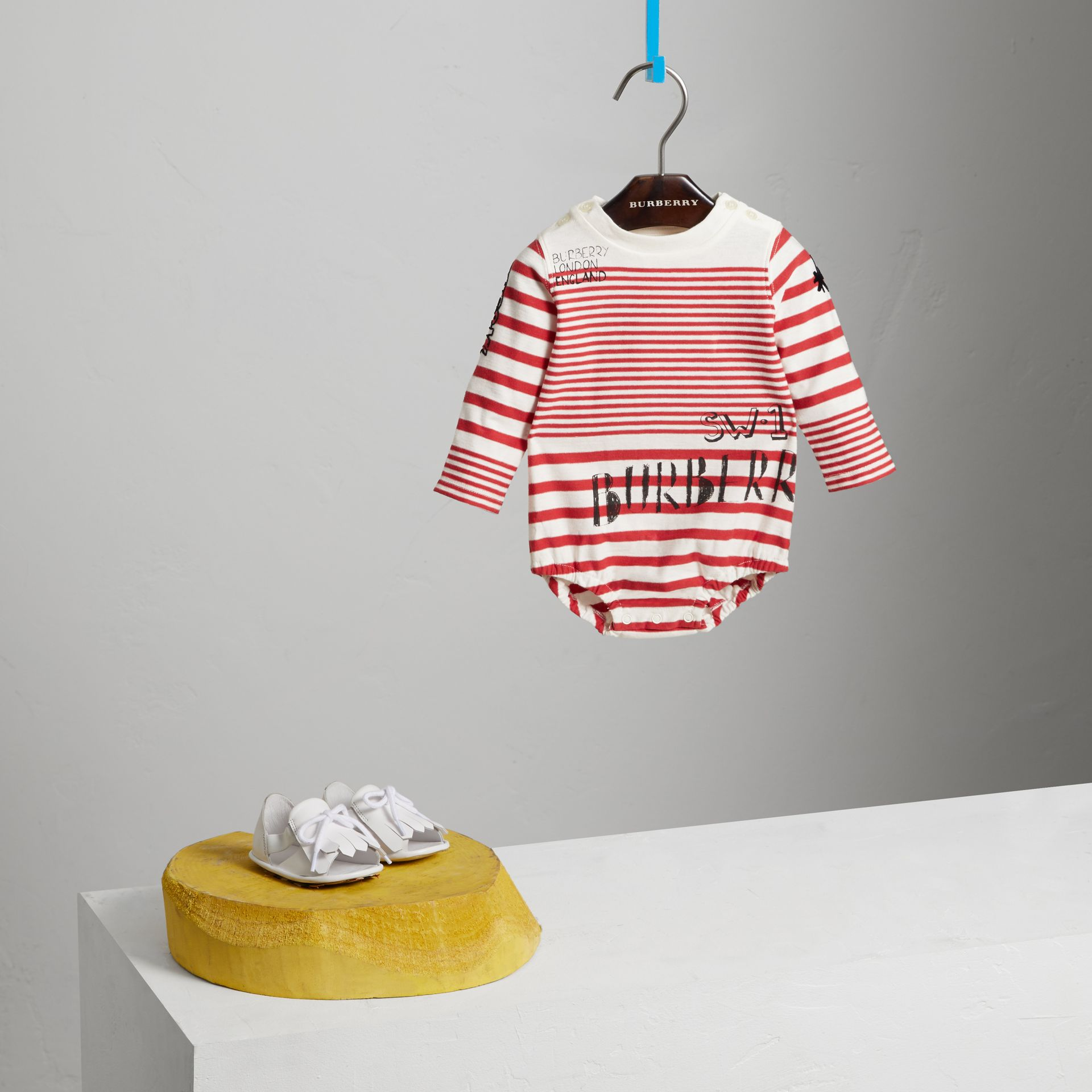 SW1 Print Striped Cotton Jersey Bodysuit in Bright Red/natural White | Burberry - gallery image 0