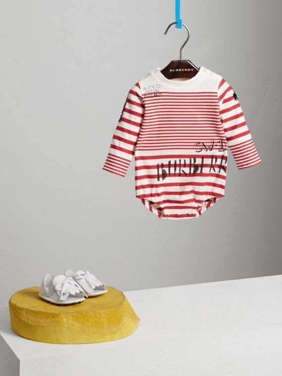 SW1 Print Striped Cotton Jersey Bodysuit in Bright Red/natural White