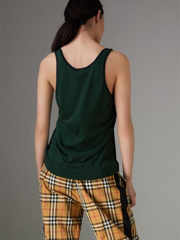 Silk Cashmere Vest in Pigment Green - Women | Burberry - cell image 2