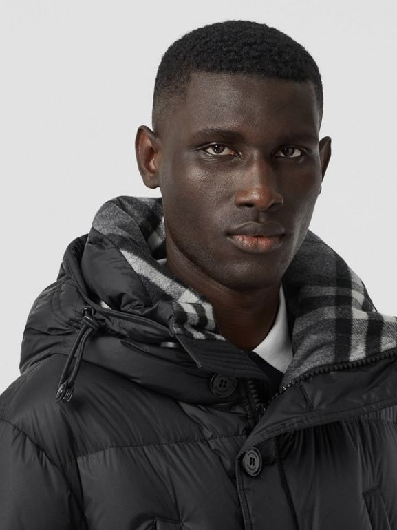 Logo Detail Hooded Puffer Coat in Black - Men | Burberry United Kingdom - cell image 1