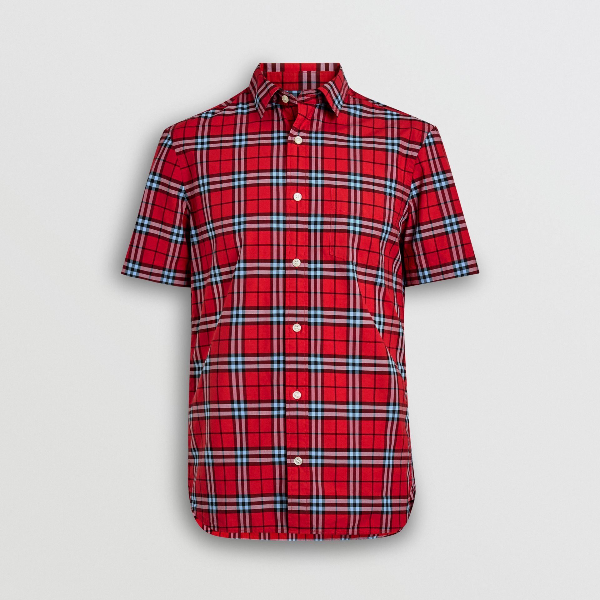 Short-sleeve Check Cotton Shirt in Bright Red | Burberry Australia - gallery image 3