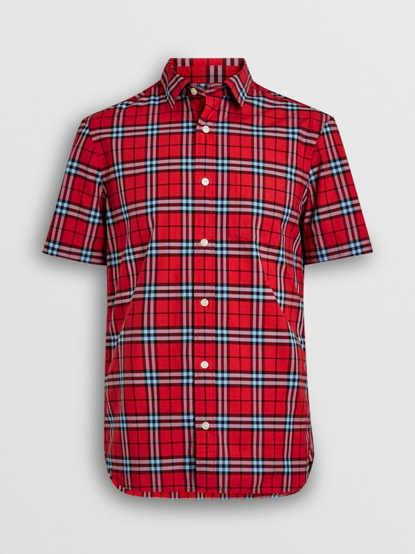 Short-sleeve Check Cotton Shirt in Bright Red | Burberry Australia - cell image 3