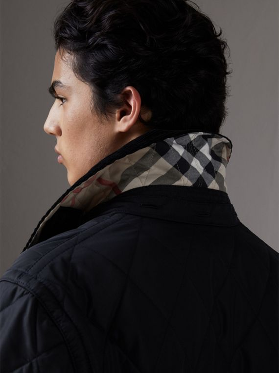 Detachable Hood Diamond Quilted Jacket in Navy - Men | Burberry - cell image 3
