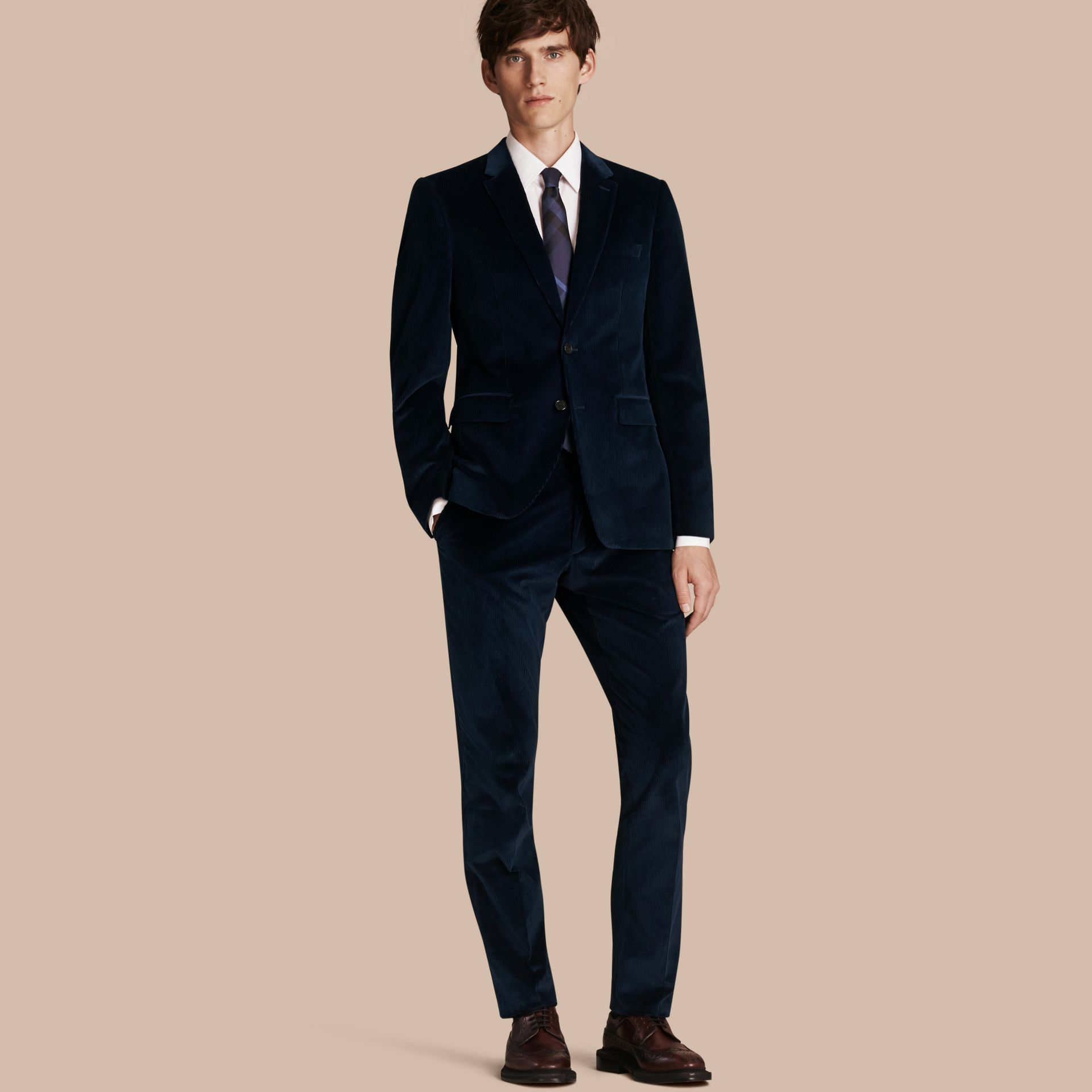 Navy Slim Fit Cotton Corduroy Jacket Navy - gallery image 1