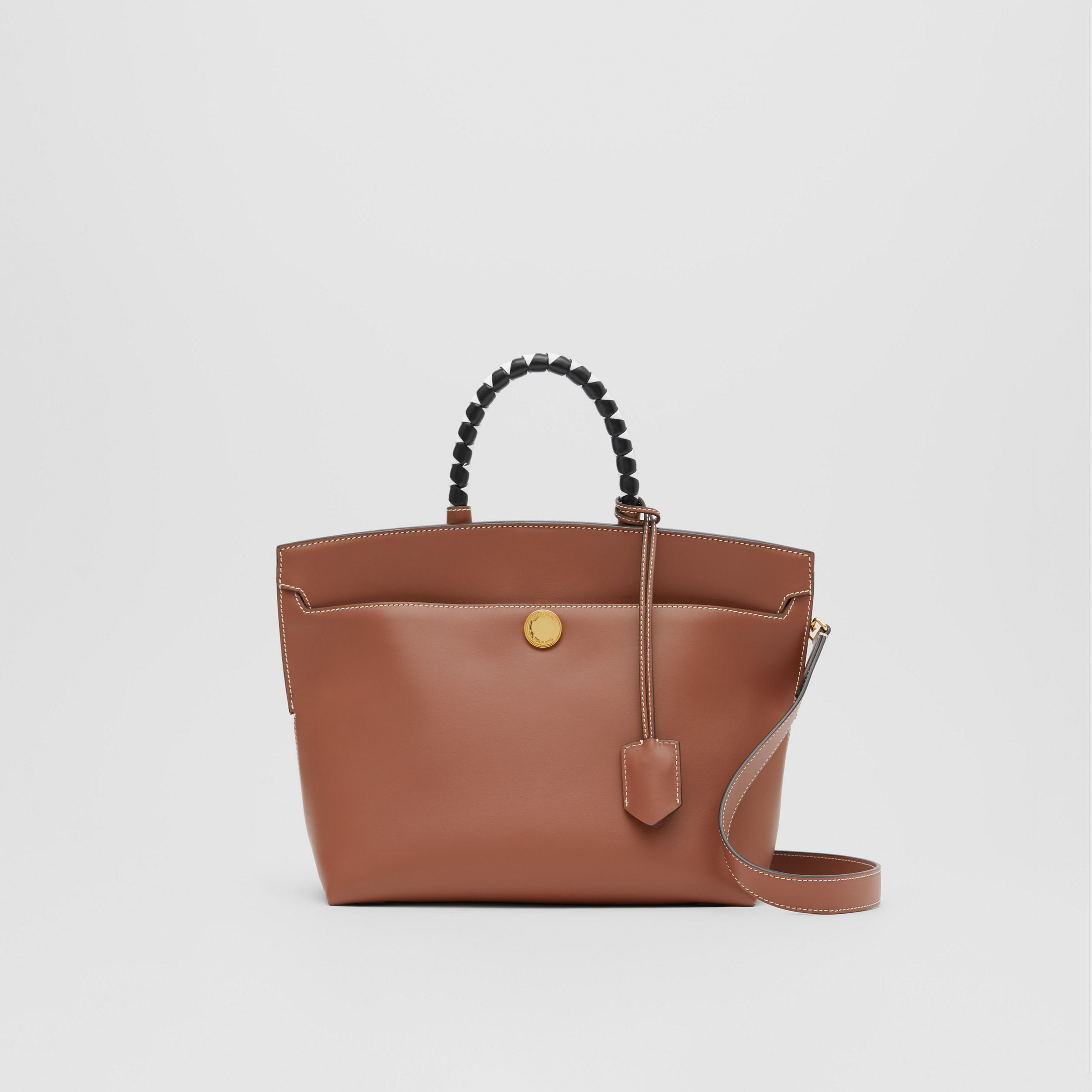 Small Leather Society Top Handle Bag in Tan - Women | Burberry - 1