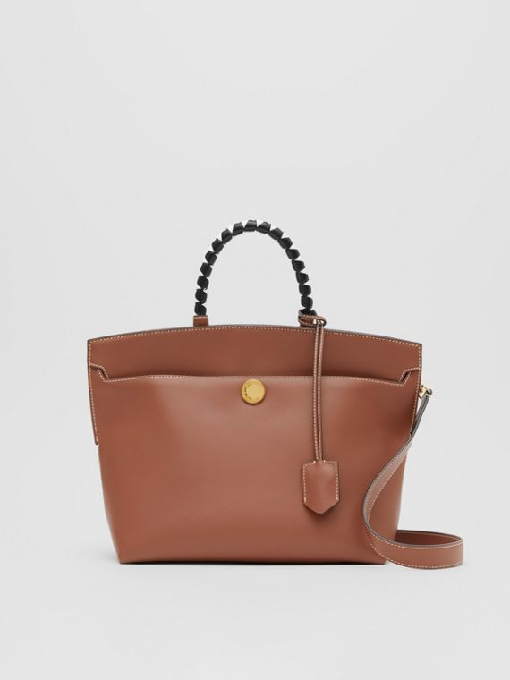 Small Leather Society Top Handle Bag in Tan