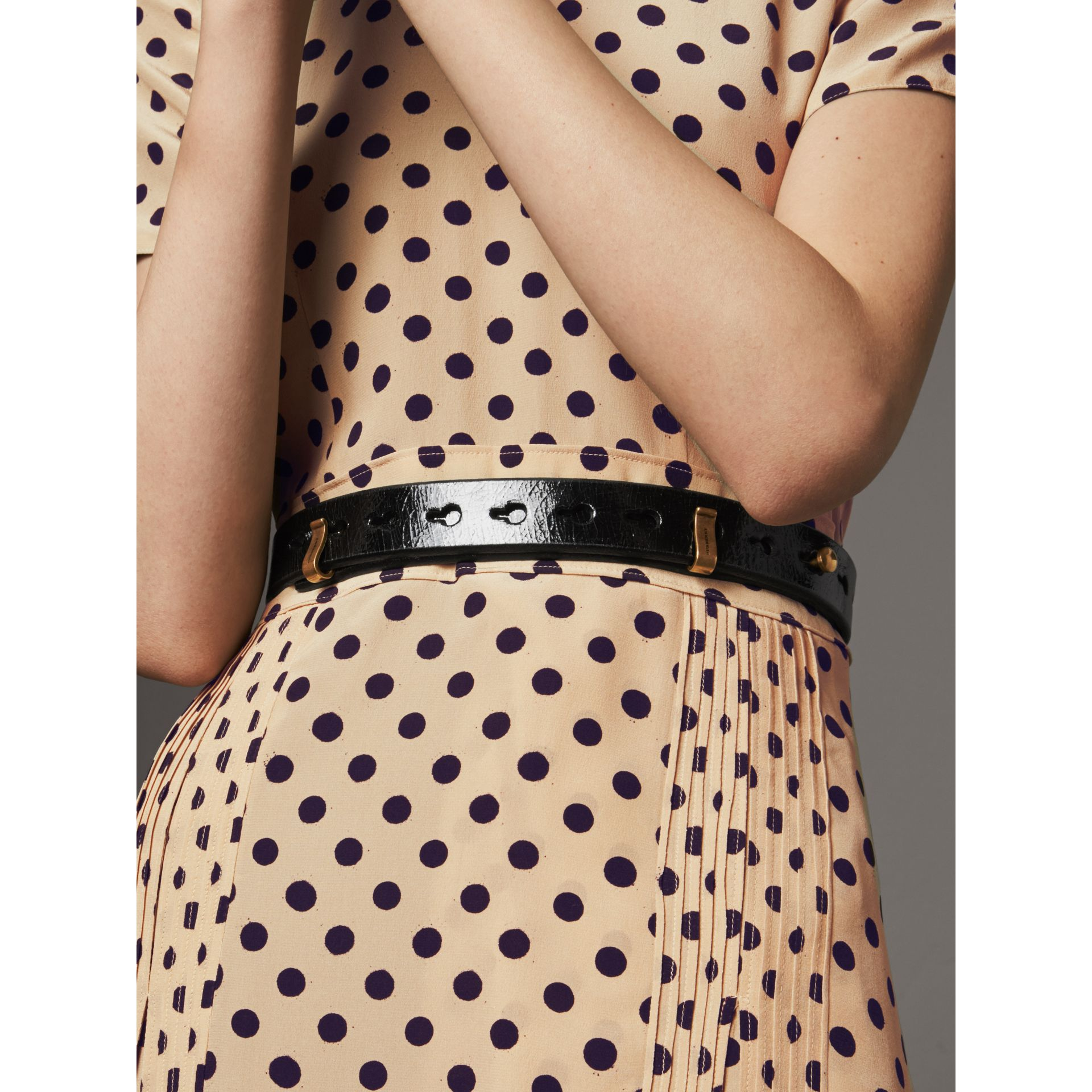 Glossy Leather Belt in Black - Women | Burberry Canada - gallery image 2