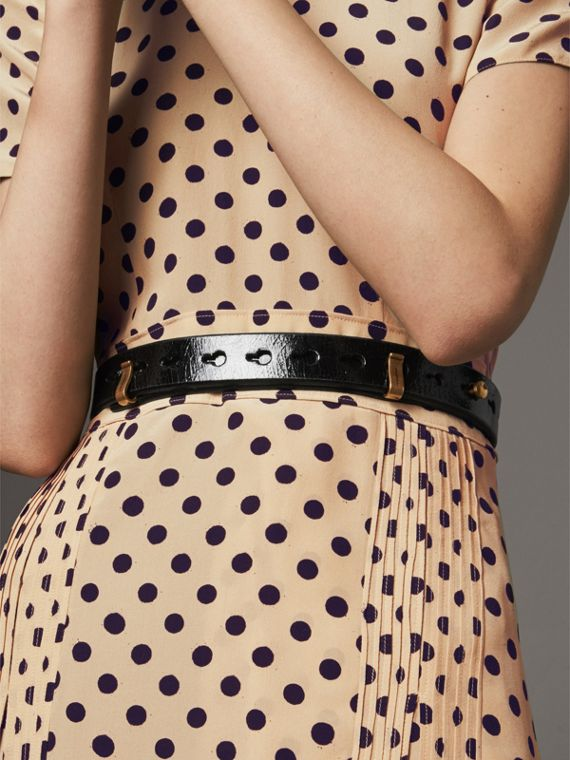 Glossy Leather Belt in Black - Women | Burberry - cell image 2