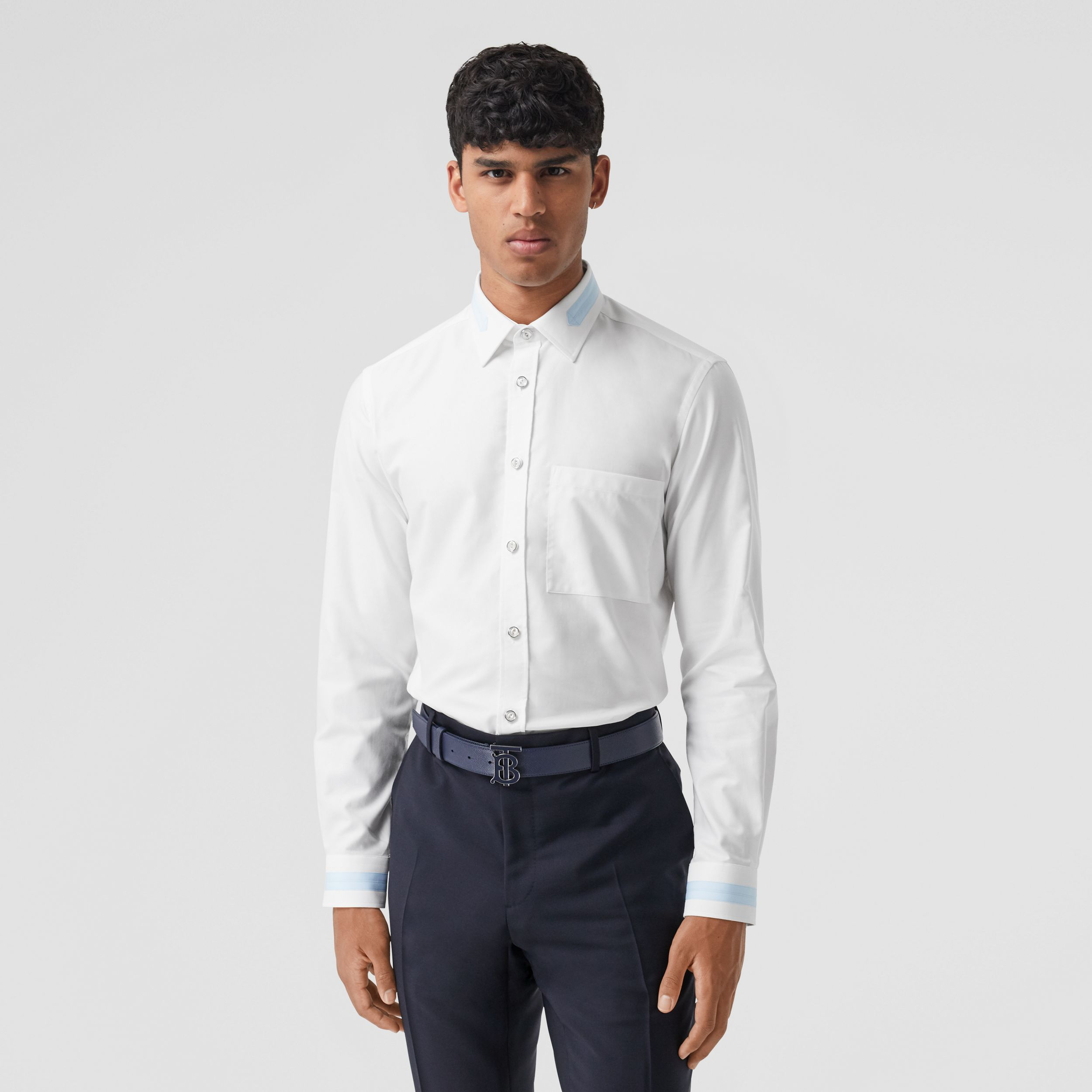 Slim Fit Cotton Oxford Shirt in White - Men | Burberry Australia - 1