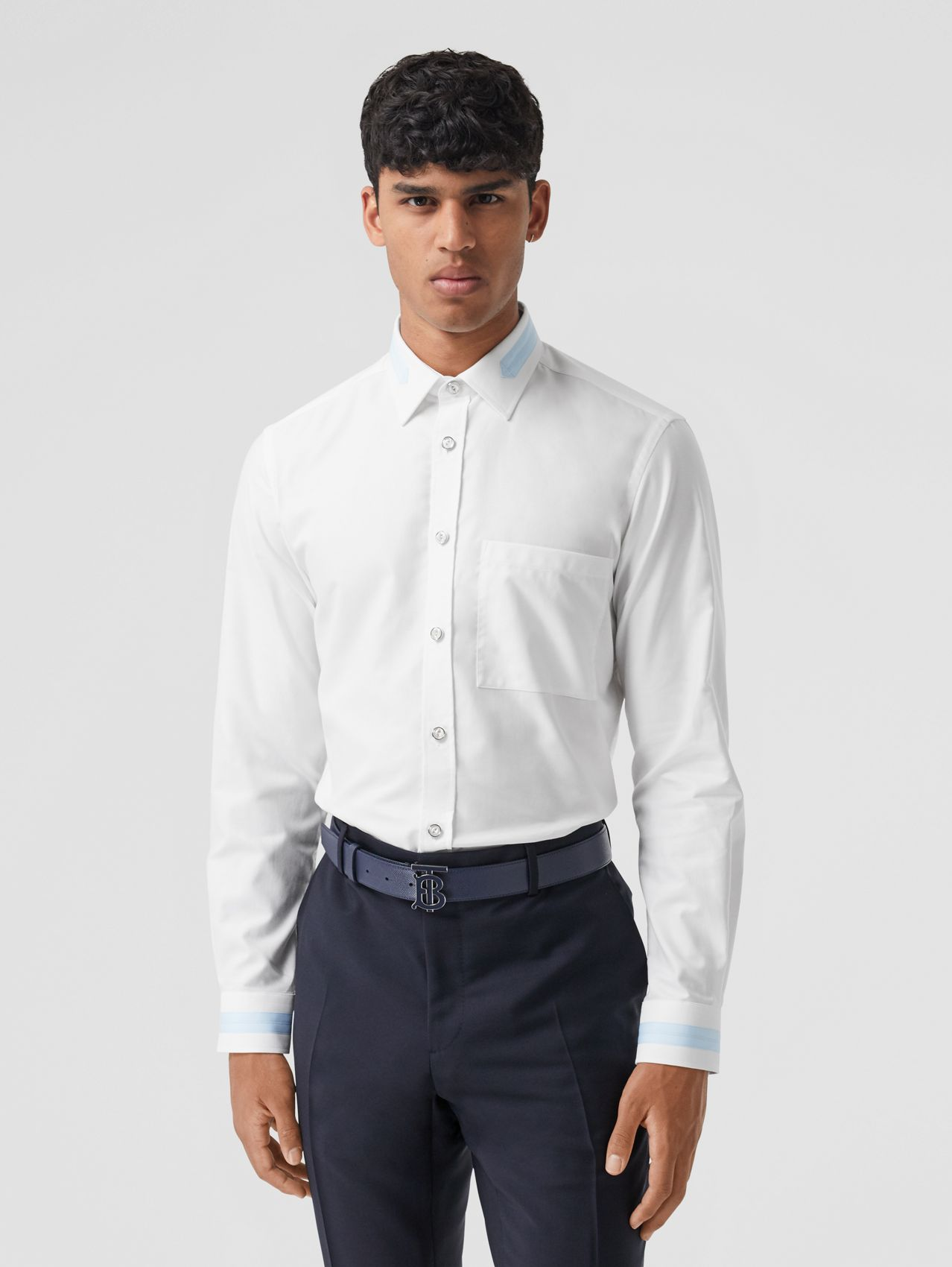 Slim Fit Cotton Oxford Shirt (White)