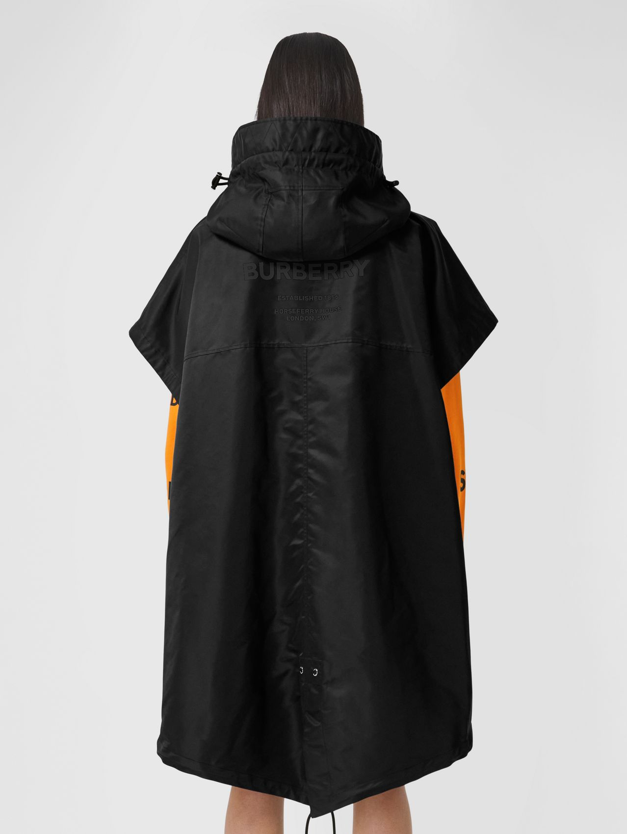 Horseferry Print Recycled Nylon Hooded Cape in Black