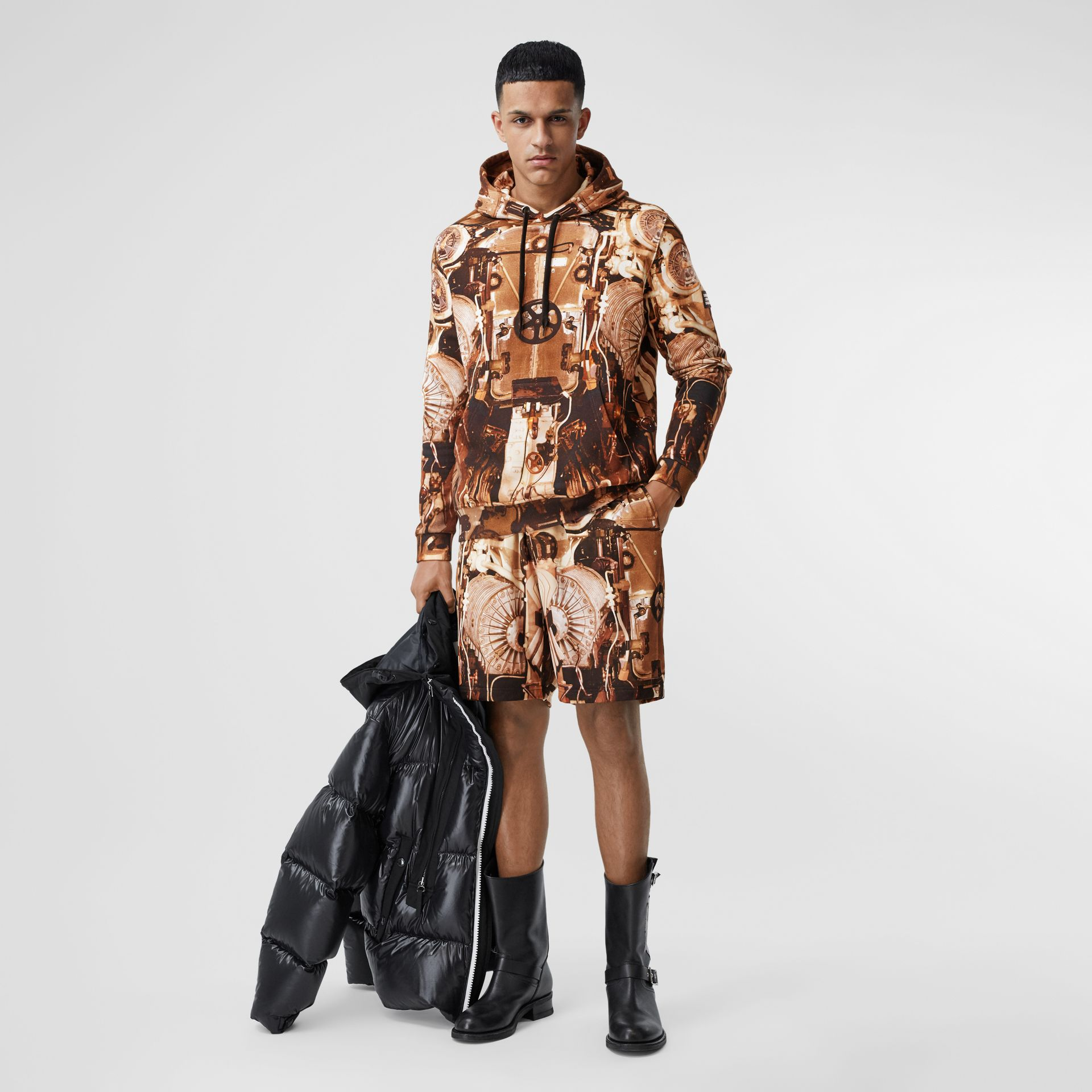 Submarine Print Cotton Hoodie in Bronze - Men | Burberry Hong Kong S.A.R - gallery image 4