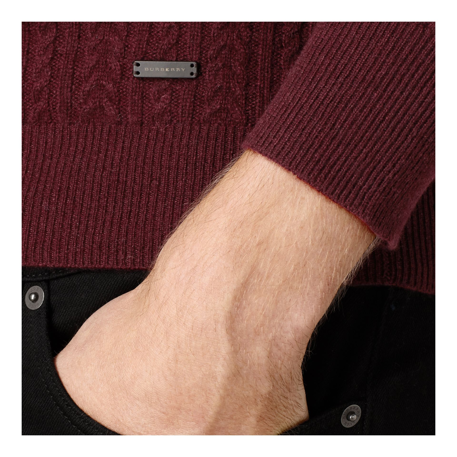 Aran Knit Cashmere Sweater in Deep Claret - gallery image 2