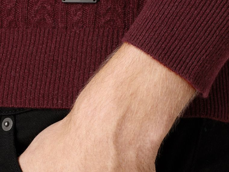 Aran Knit Cashmere Sweater in Deep Claret - cell image 1