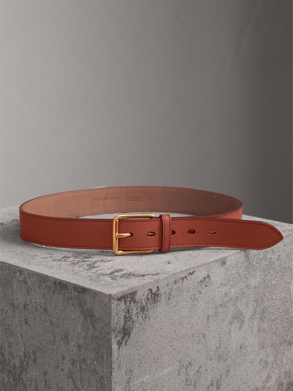 Grainy Leather Belt in Chestnut Brown - Men | Burberry - cell image 3