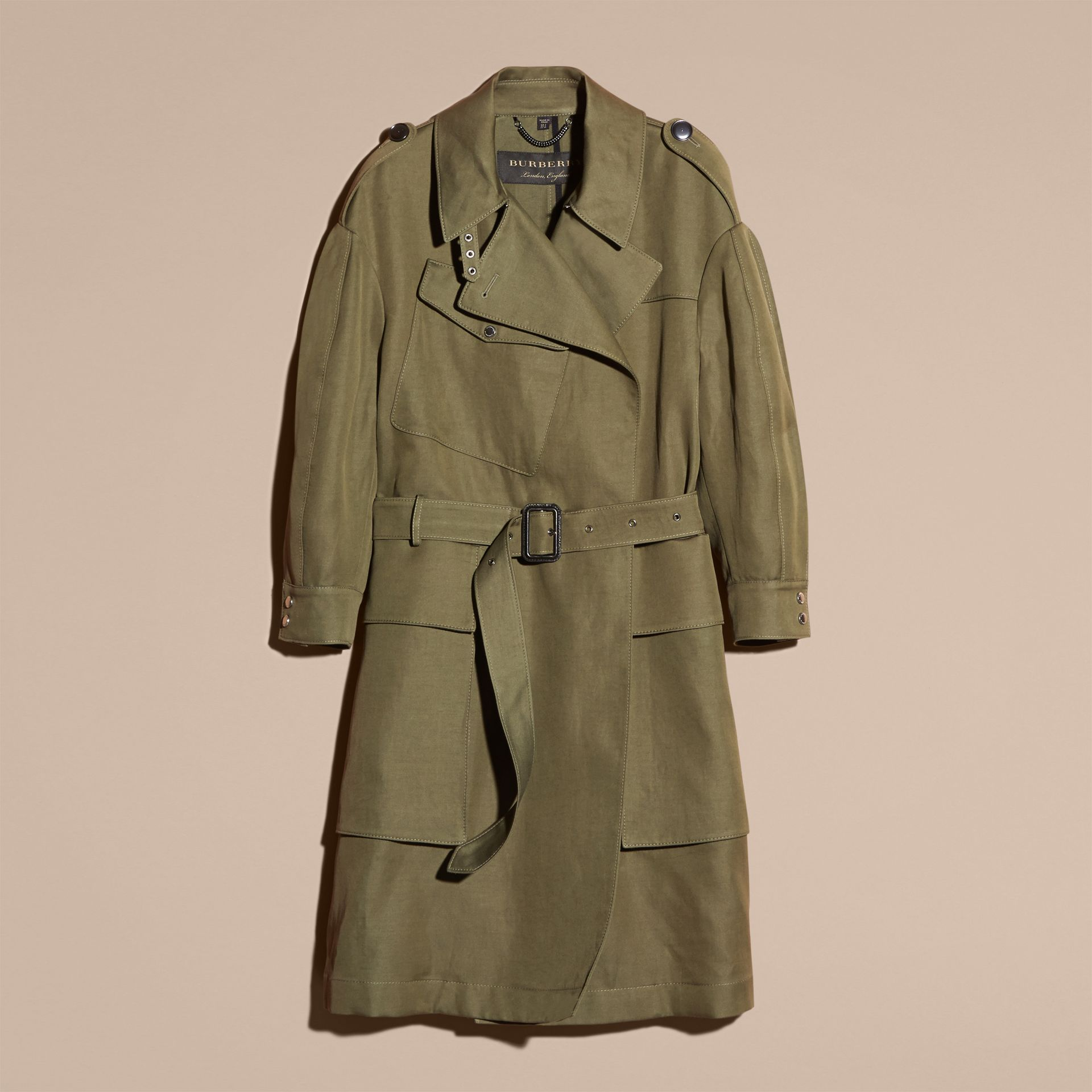 Military green Longline Ramie Cotton Wrap Coat - gallery image 4