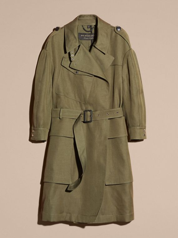 Military green Longline Ramie Cotton Wrap Coat - cell image 3