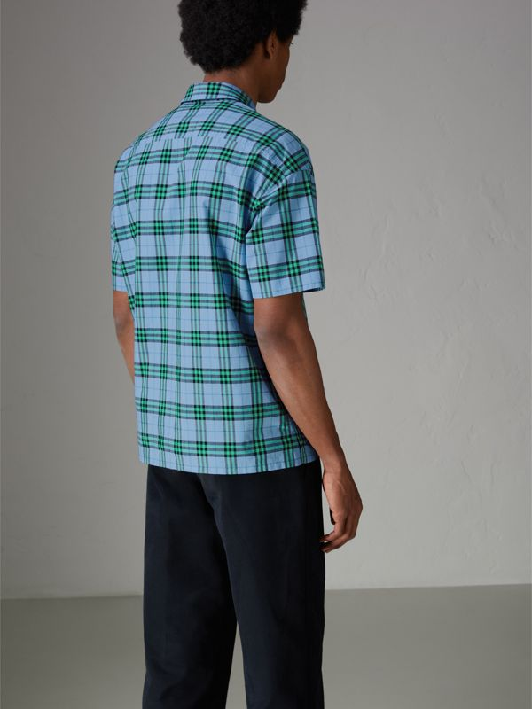 Short-sleeve Check Cotton Shirt in Blue Topaz - Men | Burberry United Kingdom - cell image 2