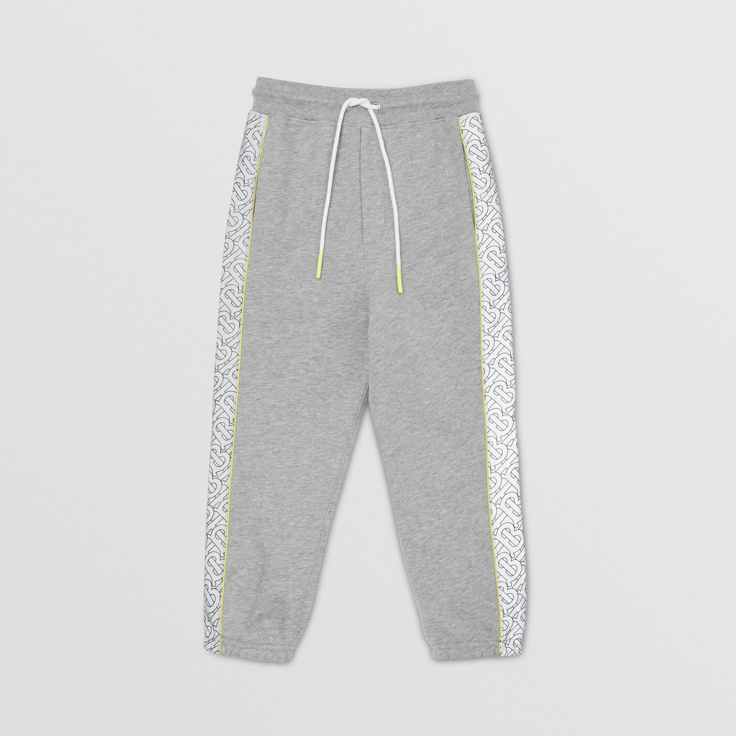 Monogram Print Panel Cotton Jogging Pants in Grey Melange | Burberry - 1