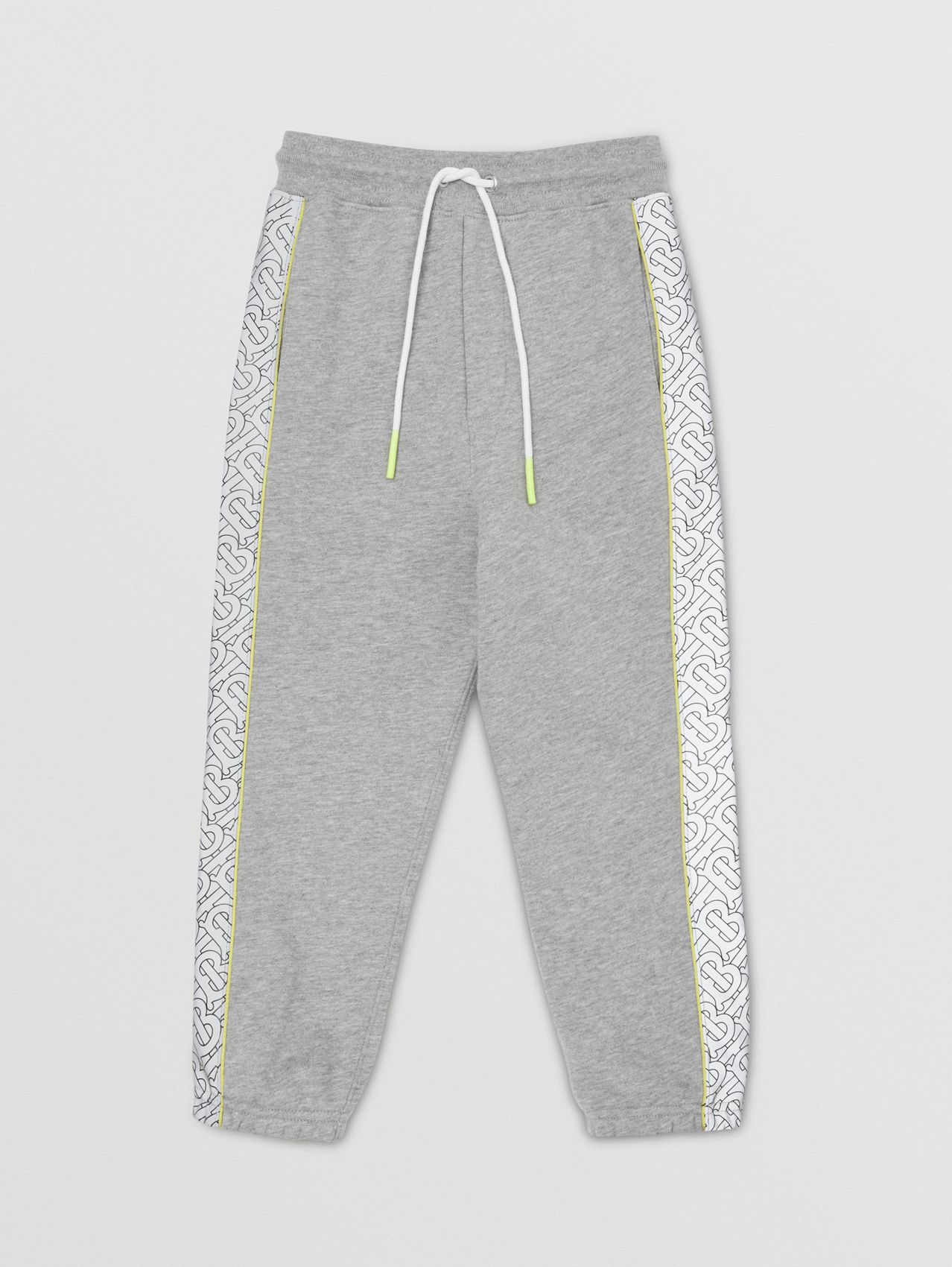 Monogram Print Panel Cotton Jogging Pants in Grey Melange
