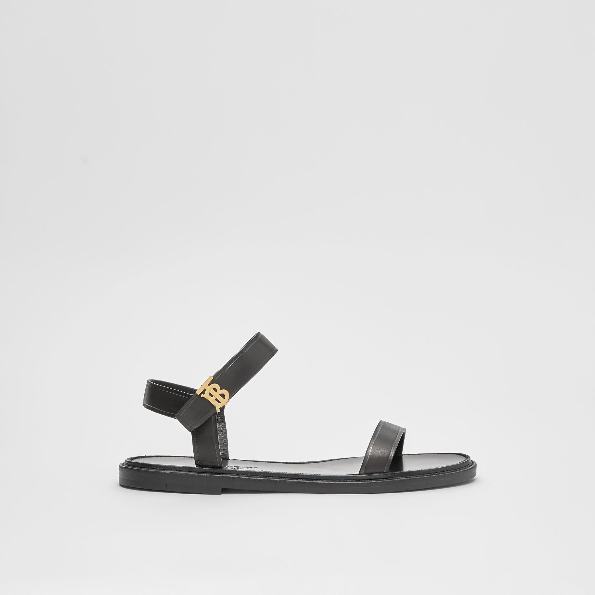 Monogram Motif Leather Sandals in Black - Women | Burberry United Kingdom - gallery image 4
