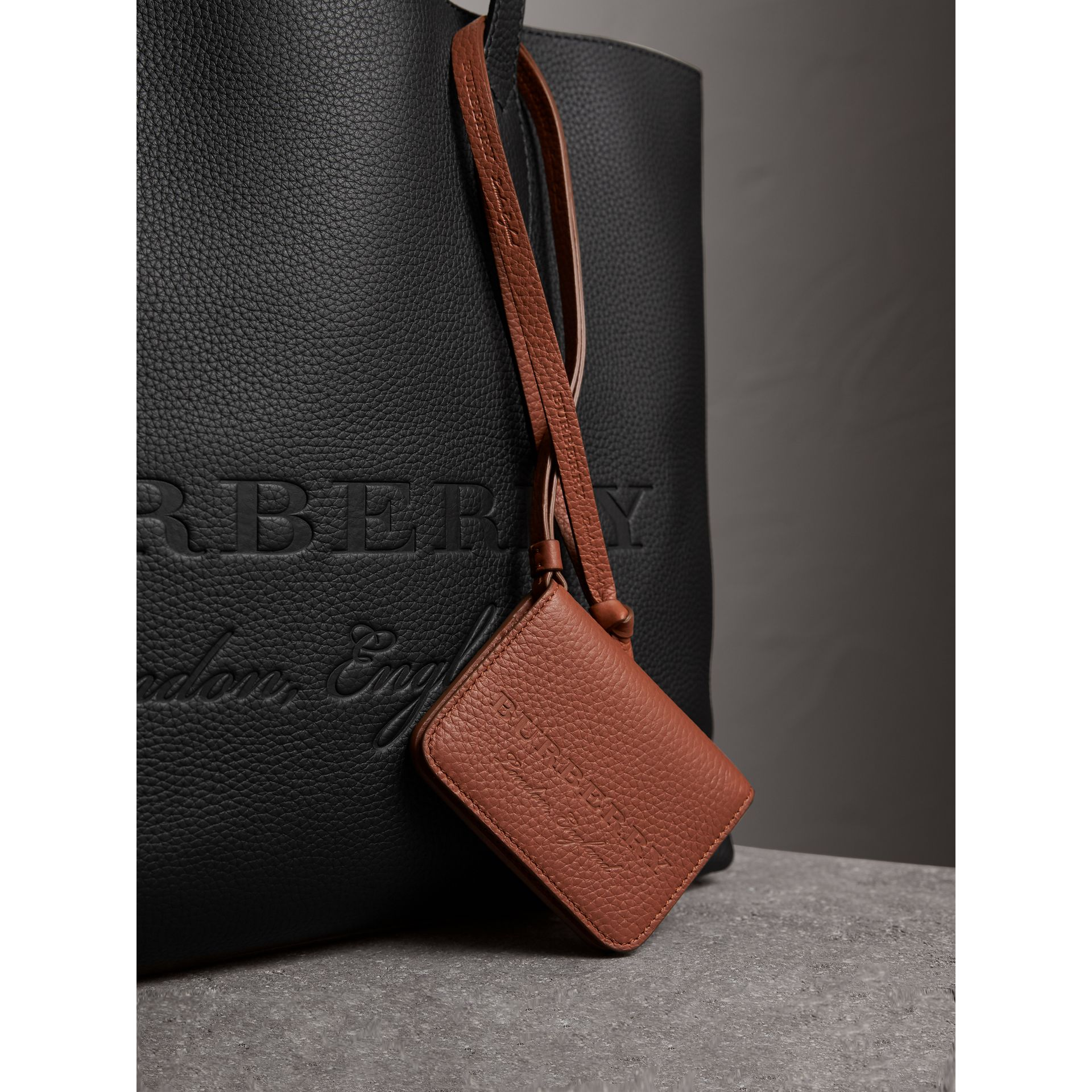 Embossed Leather ID Card Case Charm in Chestnut Brown | Burberry - gallery image 1