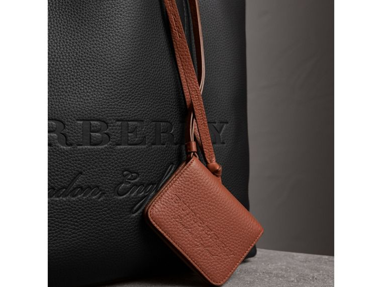 Embossed Leather ID Card Case Charm in Chestnut Brown | Burberry - cell image 1