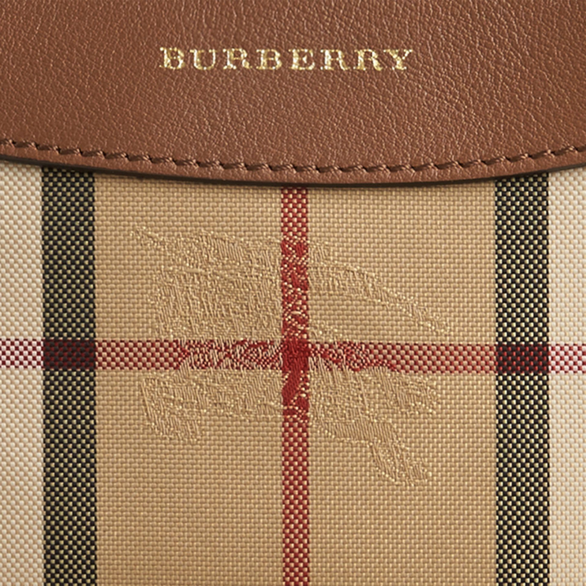 Tan Horseferry Check and Leather Pouch Tan - gallery image 2