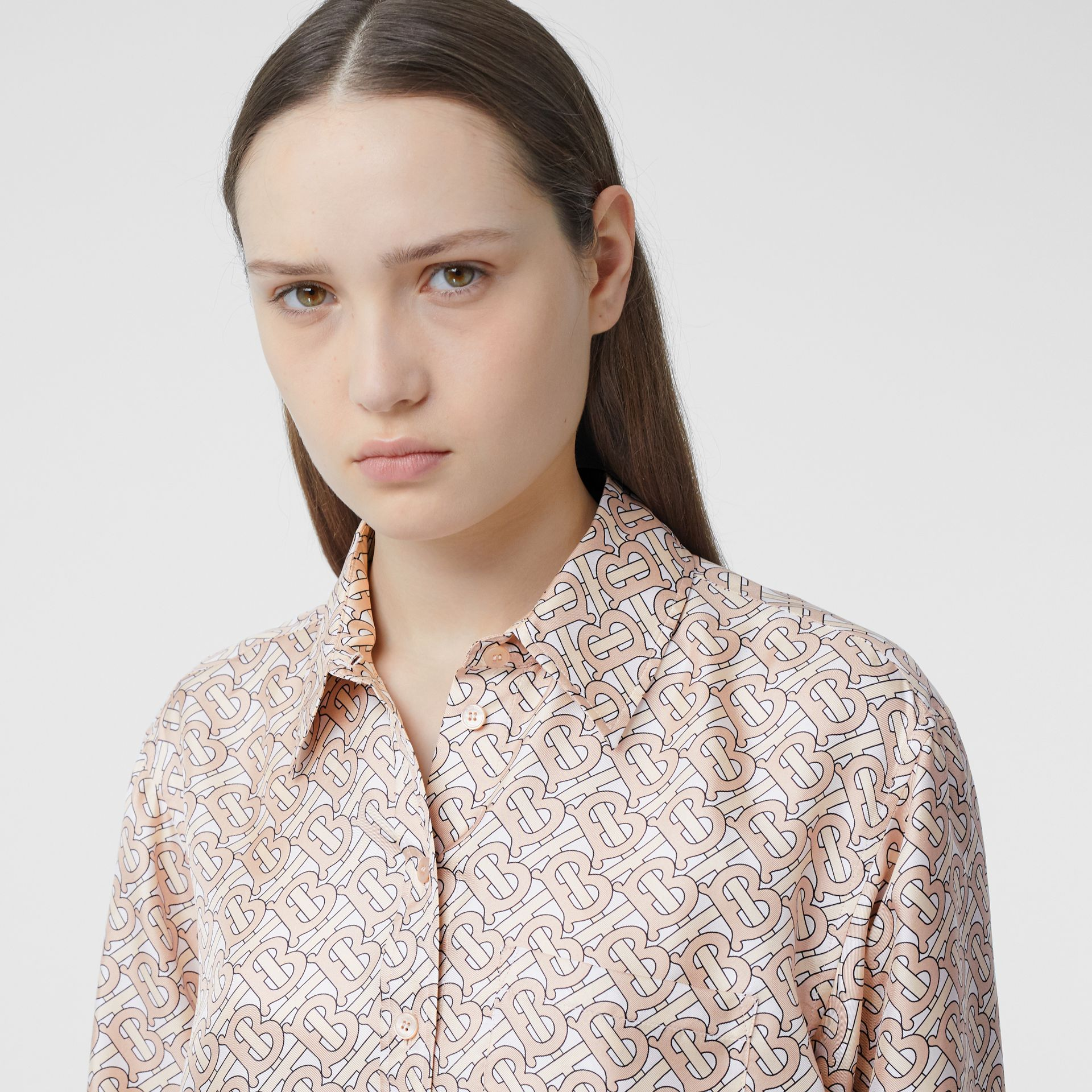 Monogram Print Silk Twill Shirt in Pale Copper Pink - Women | Burberry - gallery image 1