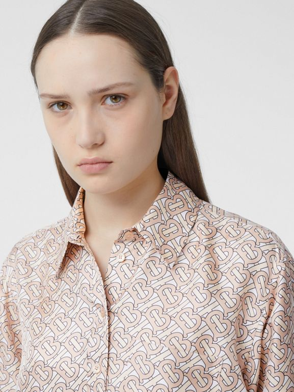Monogram Print Silk Twill Shirt in Pale Copper Pink - Women | Burberry - cell image 1