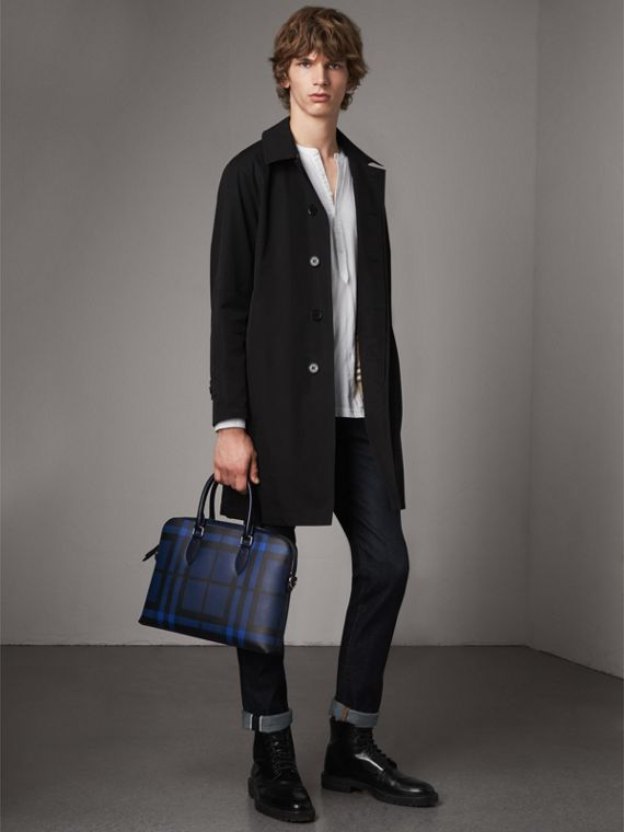 The Slim Barrow in London Check in Bright Lapis - Men | Burberry Australia - cell image 2