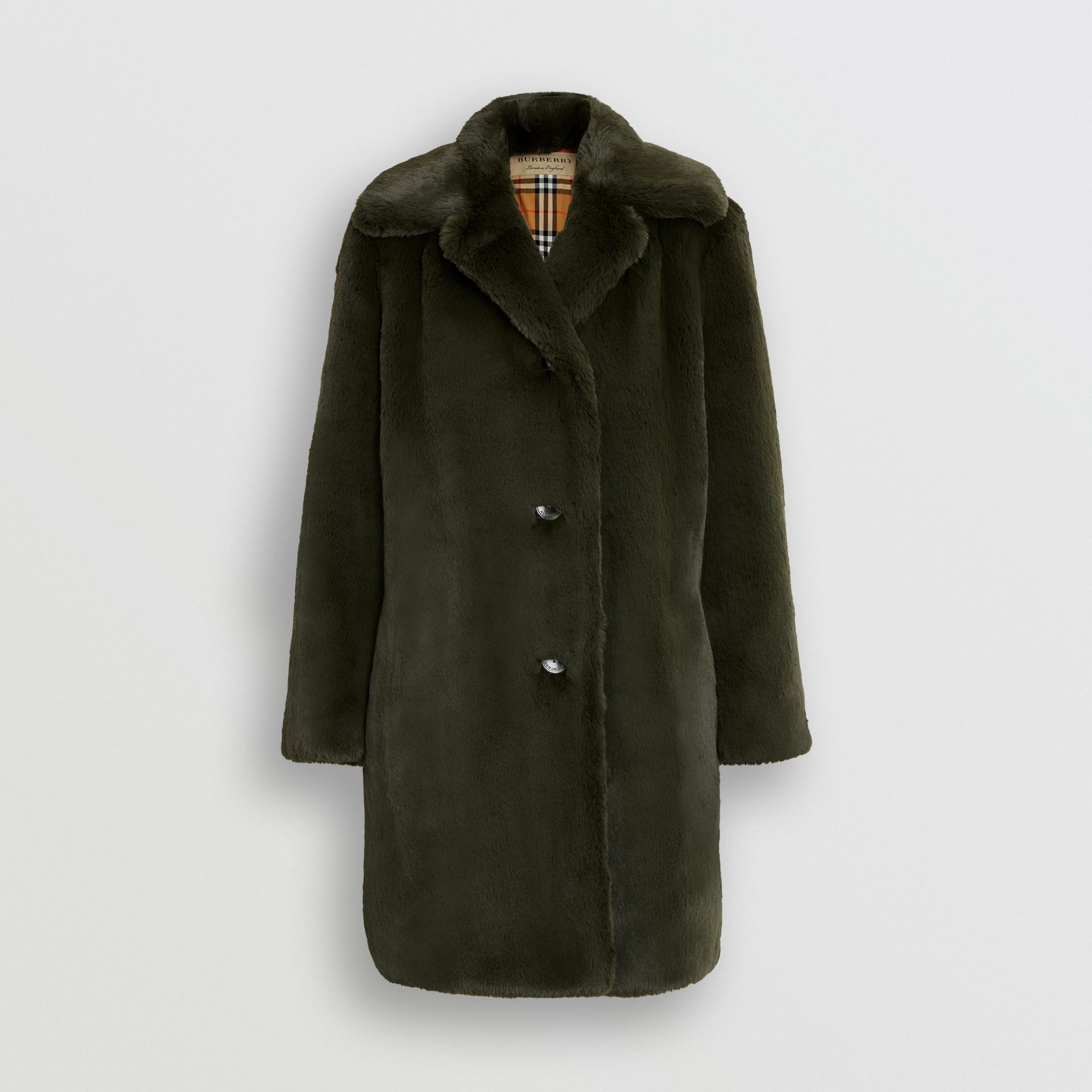 Faux Fur Single-breasted Coat in Dark Forest Green - Women | Burberry - gallery image 3