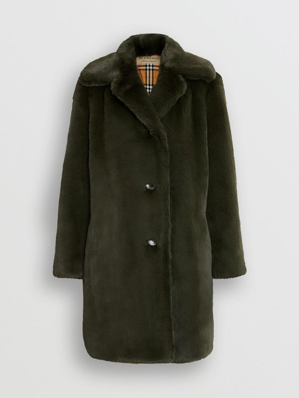 Faux Fur Single-breasted Coat in Dark Forest Green - Women | Burberry Australia - cell image 3