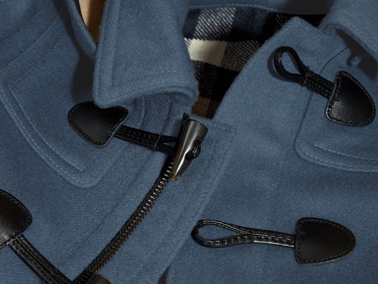 Steel blue Wool Duffle Coat with Check-lined Hood - cell image 1