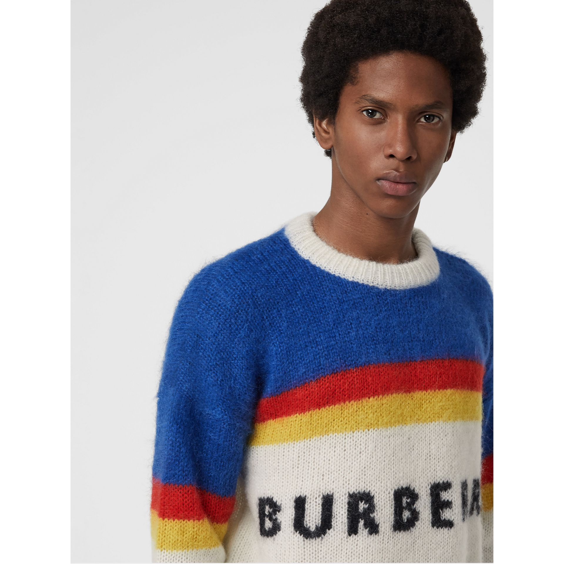 Striped Logo Intarsia Mohair Wool Blend Sweater in Cerulean Blue - Men | Burberry - gallery image 1