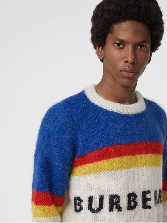 Striped Logo Intarsia Mohair Wool Blend Sweater in Cerulean Blue - Men | Burberry - cell image 1