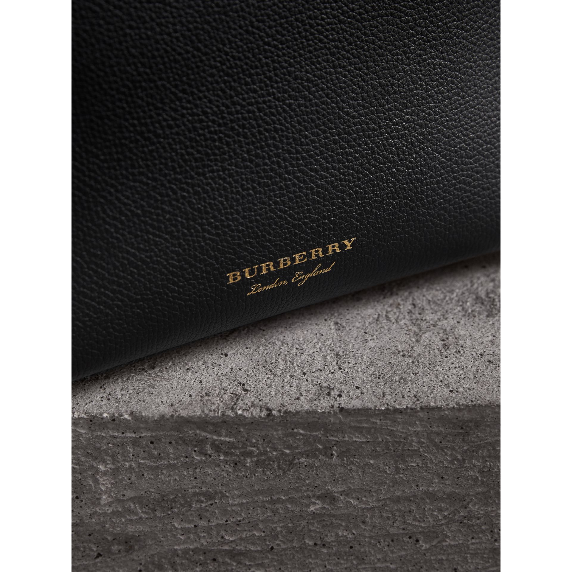 The Baby Banner in Leather and House Check in Black/tan - Women | Burberry Australia - gallery image 1