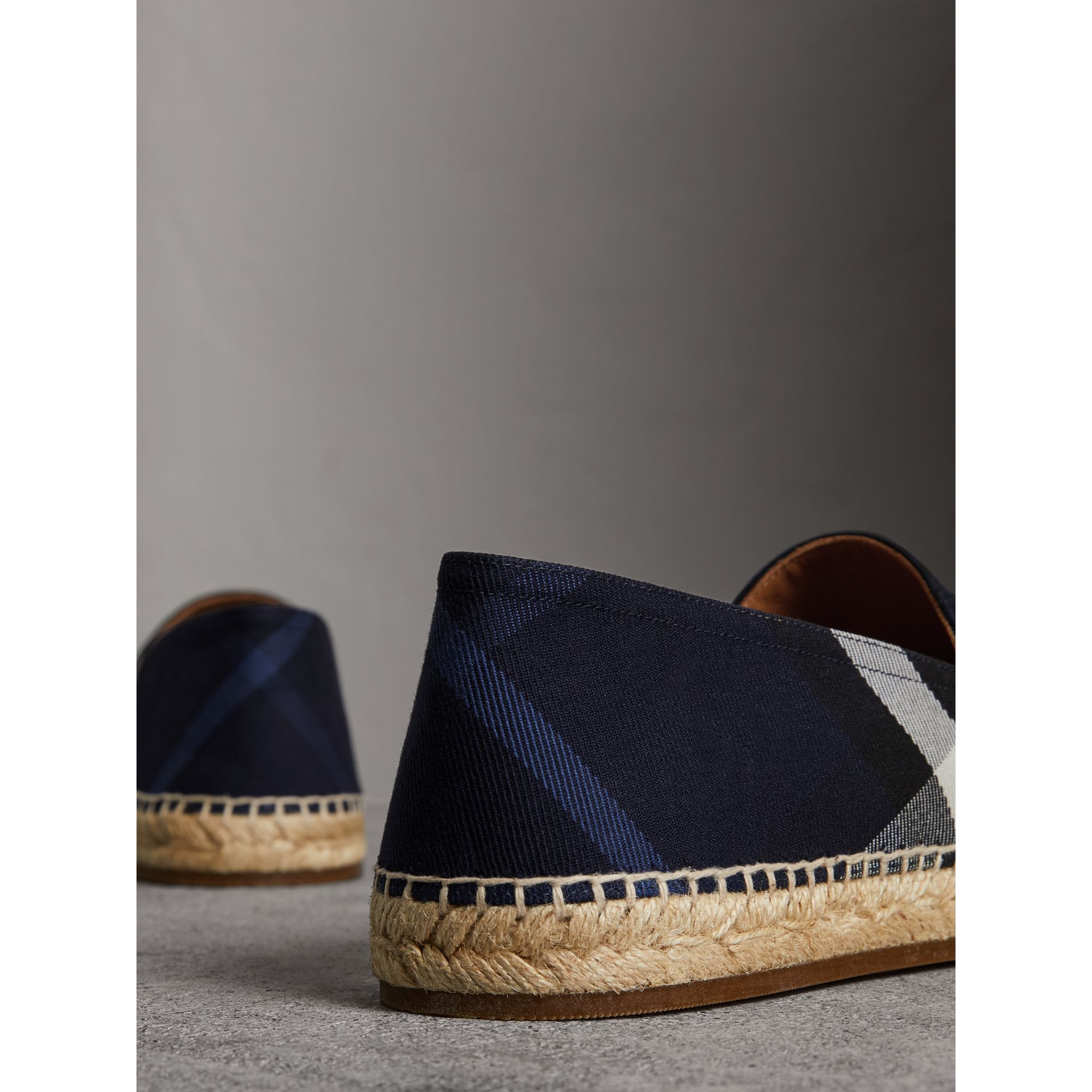 Overdyed House Check and Cotton Canvas Espadrilles in Indigo Blue - Men | Burberry Australia - gallery image 3