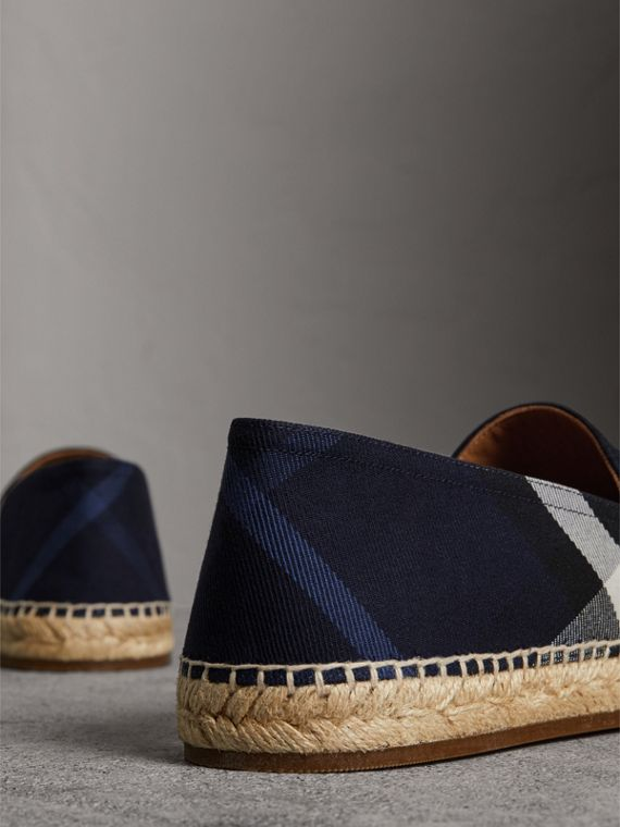 Overdyed House Check and Cotton Canvas Espadrilles in Indigo Blue - Men | Burberry United Kingdom - cell image 3