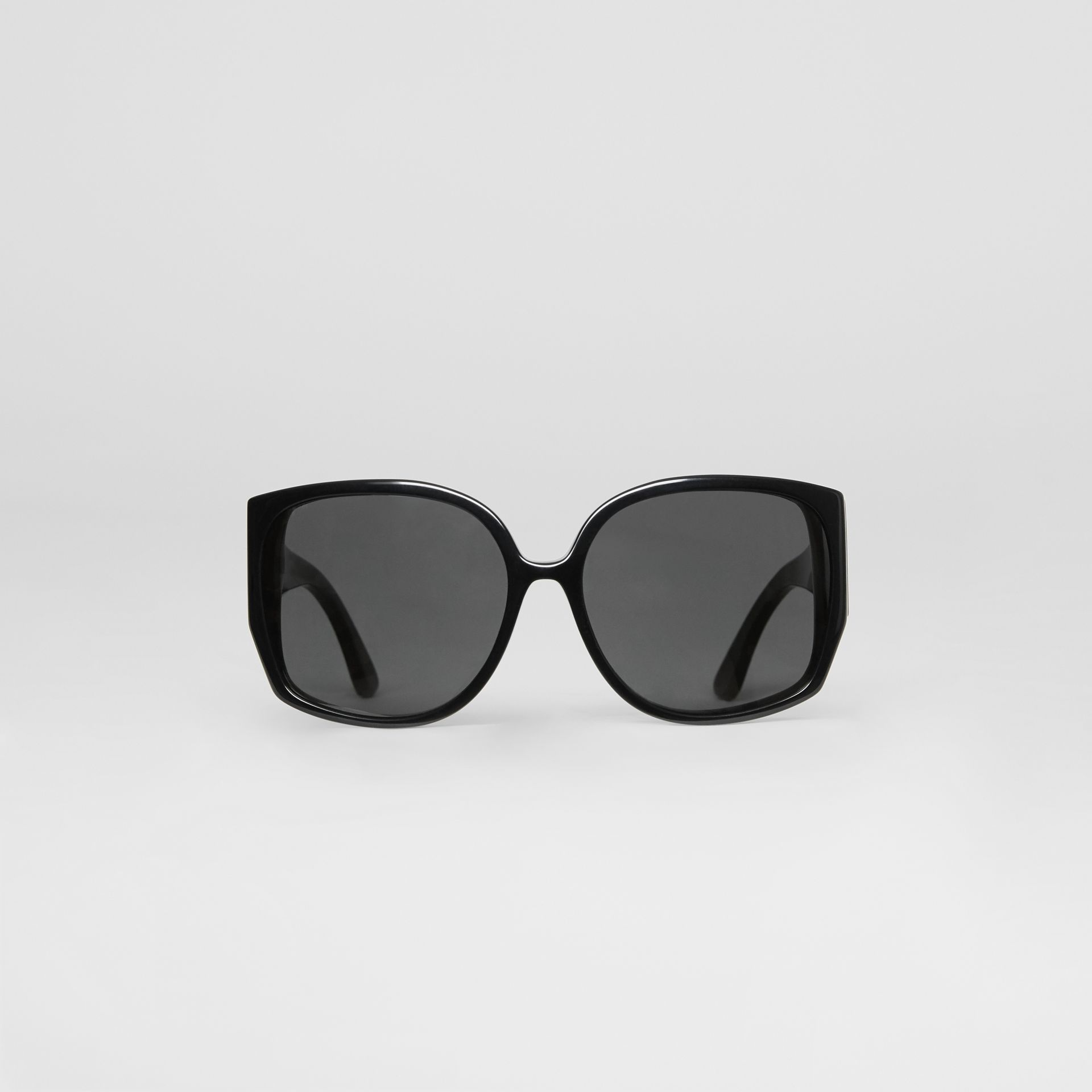 Monogram Detail Round Frame Sunglasses in Black - Women | Burberry - gallery image 0