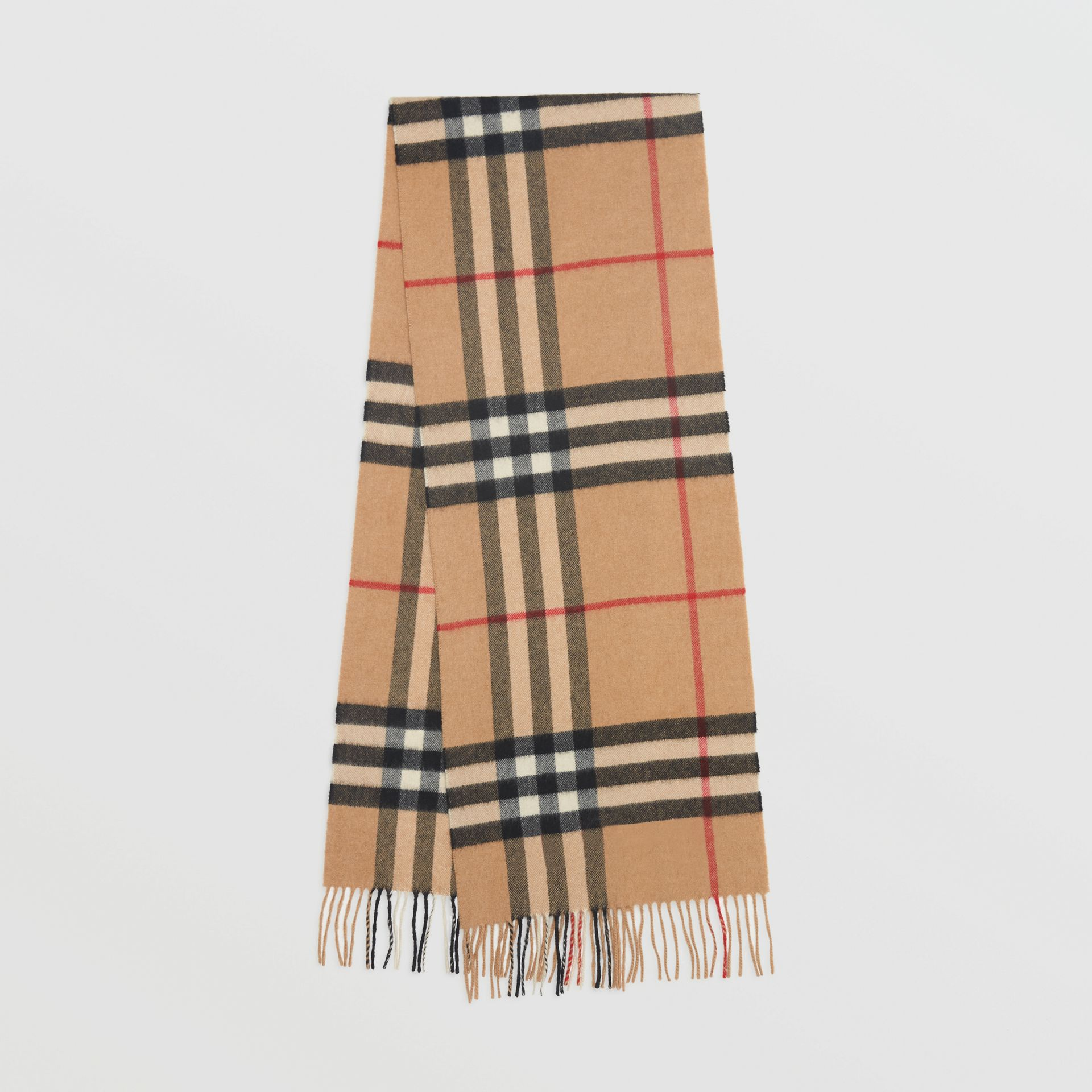 The Classic Check Cashmere Scarf in Camel  a54572b6b9