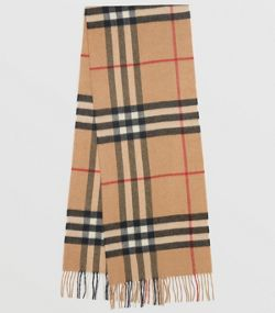 af4f2c47c1b0 The Classic Check Cashmere Scarf in Camel