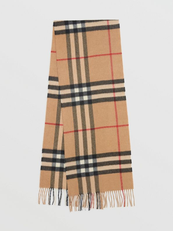 The Classic Check Cashmere Scarf in Camel