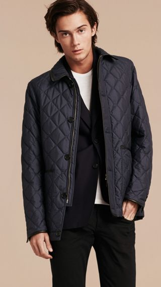 Lightweight Quilted Jacket with Leather Trim