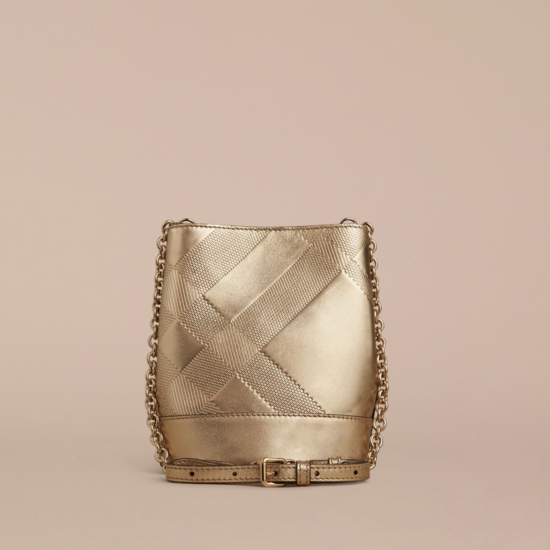 Gold The Baby Bucket in Embossed Check Leather - gallery image 2