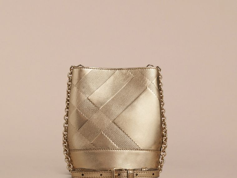 Gold The Baby Bucket in Embossed Check Leather - cell image 1